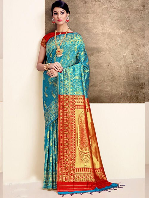 Sky Colored Beautiful Weaving Silk Saree - Tanisi