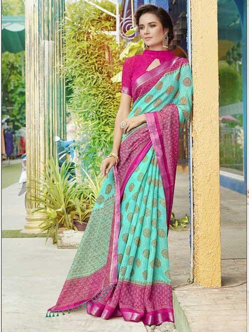 Sky Colored Beautiful Zari weaving Linen Silk Traditional Saree