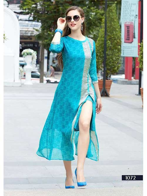 Sky Colored Embroidered Georgette Designer Original Kurti