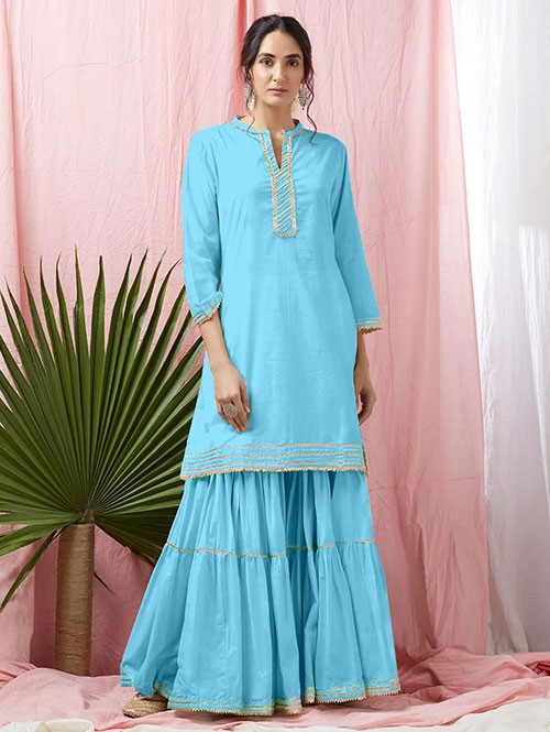 Sky Colored Glorious Rayon Sharara Pant and Kurta With Gotta Patti - Eid Special