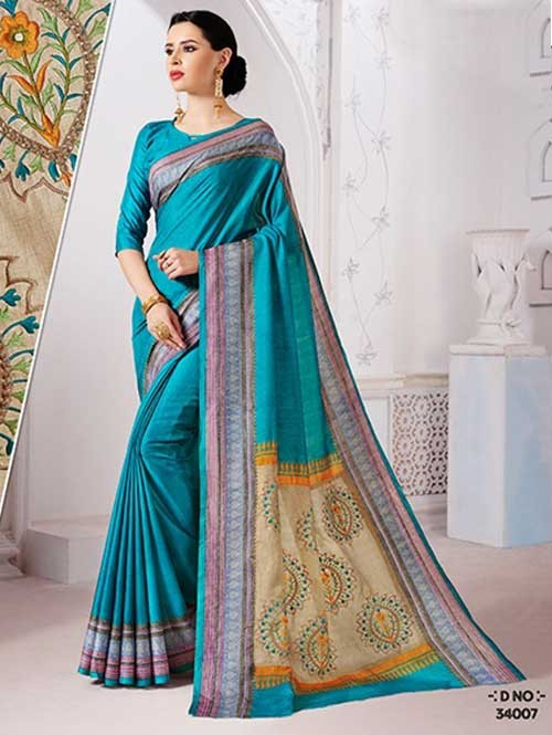 Sky Colored Manipuri Silk Saree with Beautiful Embroidered on Pallu