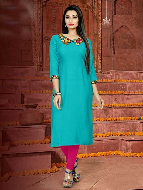 Sky Colored Straight Rayon Print Kurti Online