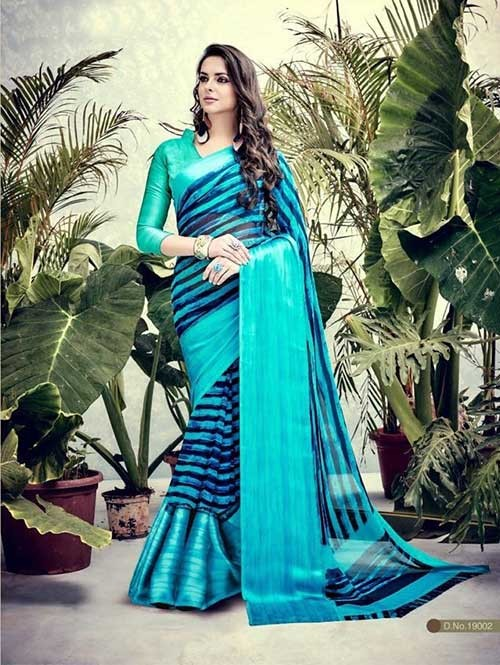 Sky Colored weightless Satin Patta Printed Saree