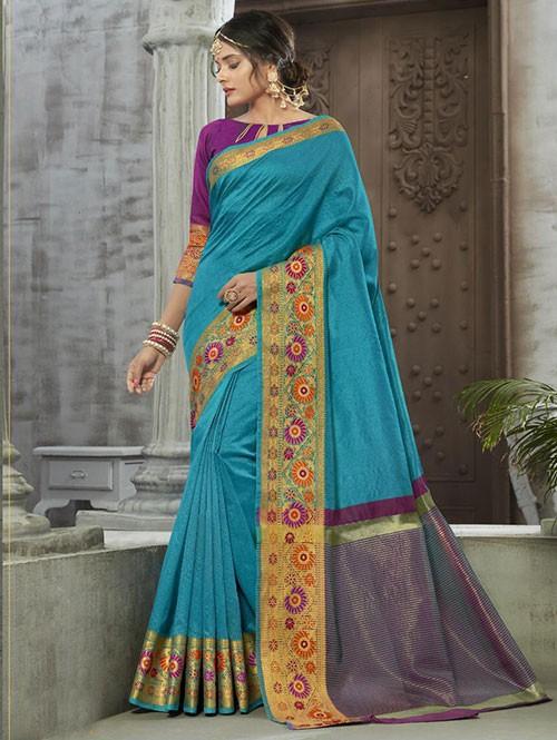 Sky Colored Zari Chex Cotton Silk Fancy Saree