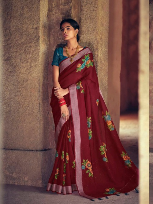 Grabandpack Soft linen with Floral Print & Sequence Pallu Weaving
