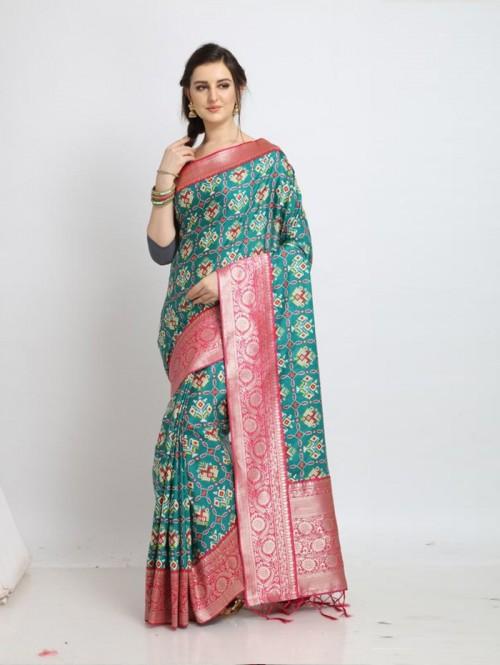 GrabandPack soft silk Patola saree in Green