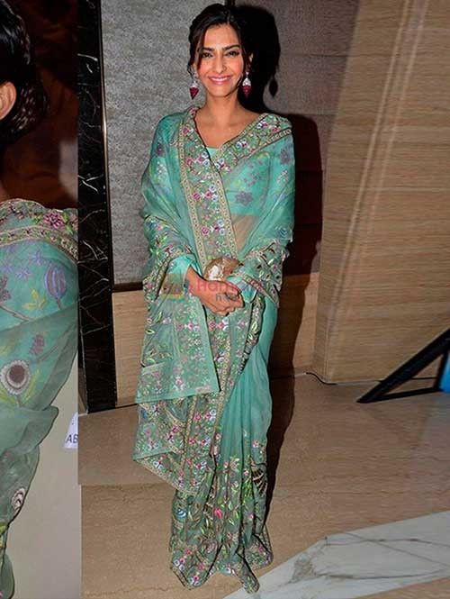 Sonam Kapoor in Green Colored Beautiful Embroidered Nylon Net Saree
