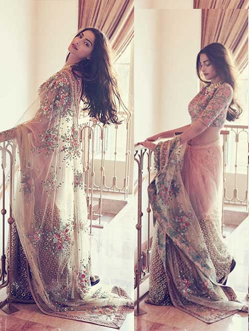 Sonam Kapoor Multi Color Nylon Net Saree Online
