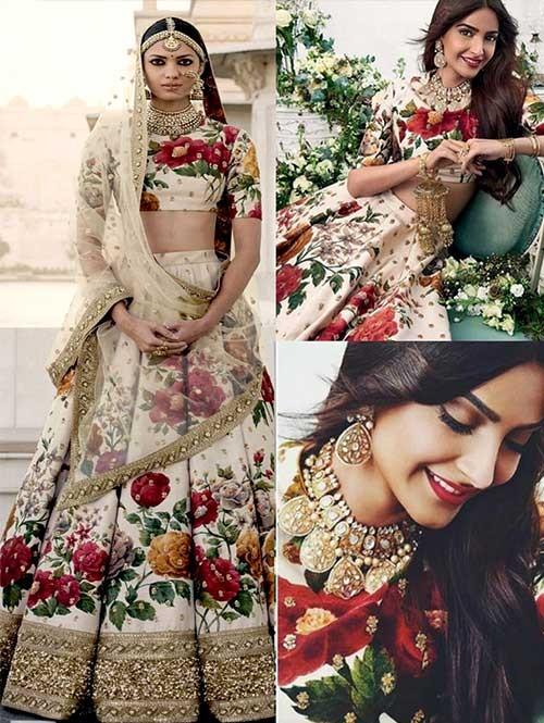 Sonam Kapoor Wedding Printed Banglory Silk Lehenga Choli