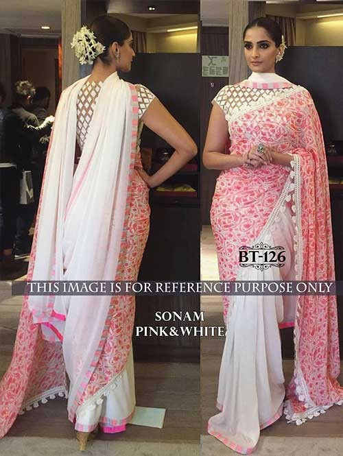 Sonam Off White Color Georgette Saree Online