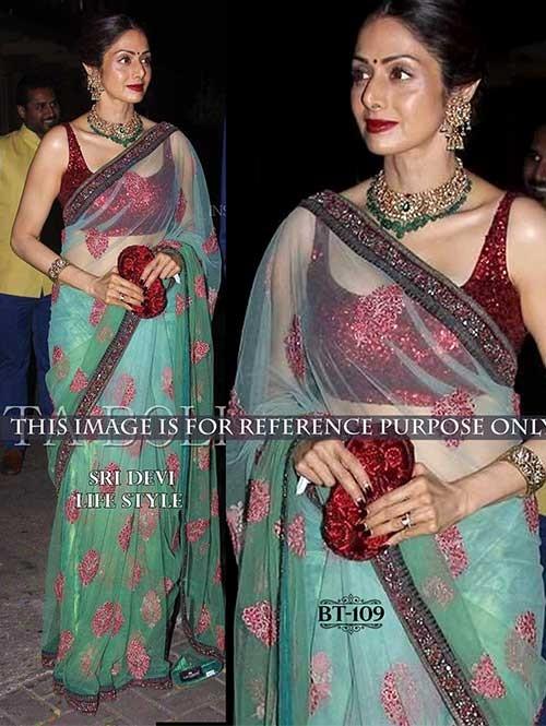 Sridevi Light Green Colored Beautiful Embroidered Nylon Net Saree