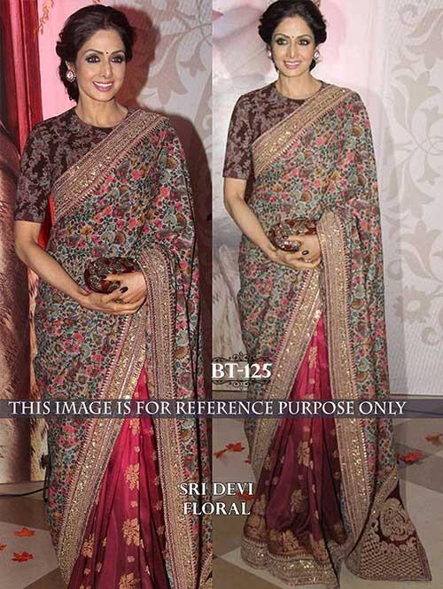 Sridevi Multi Color Georgette Print and Silk Saree Online