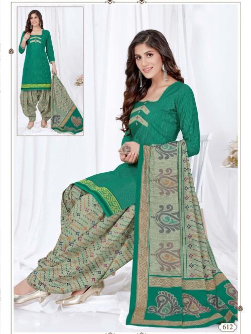 women's Stunning Printed Pocket Style Green Patiyala Salwar suit