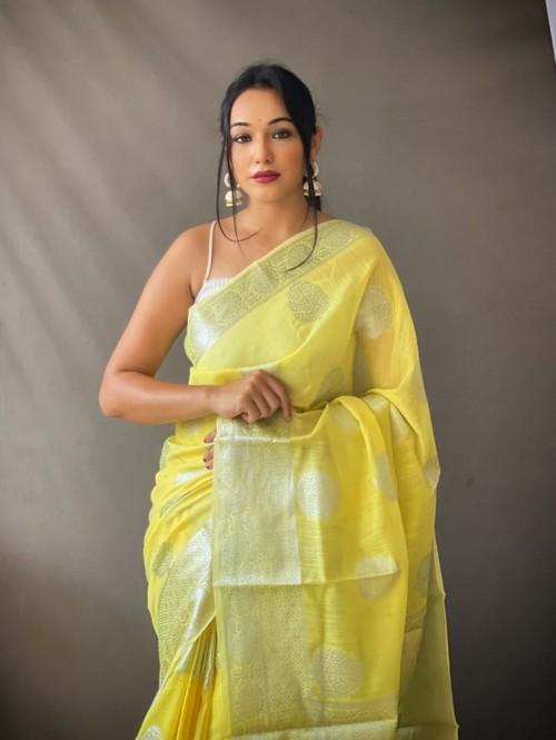 Yellow Coloured Linen Tissue Silk Saree