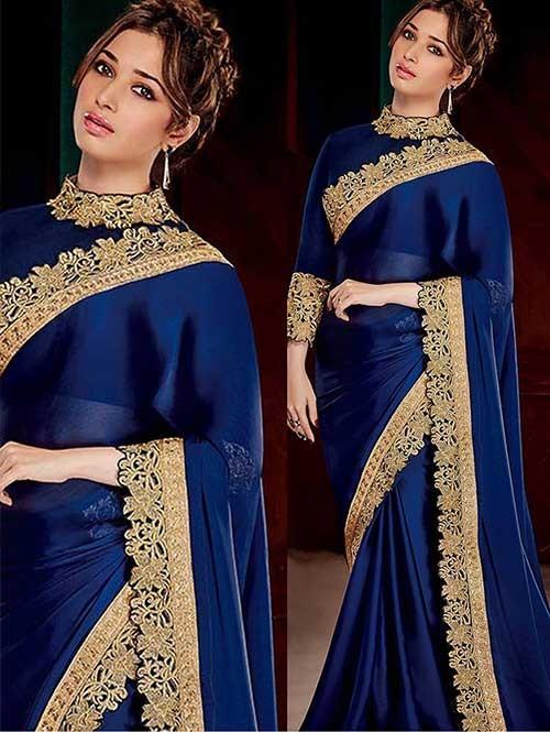 Tamanna bhatia Blue Color Satin Saree Online