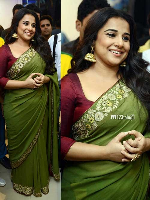 Vidhya Balan in Green Colored Beautiful Embroidered Georgette Saree