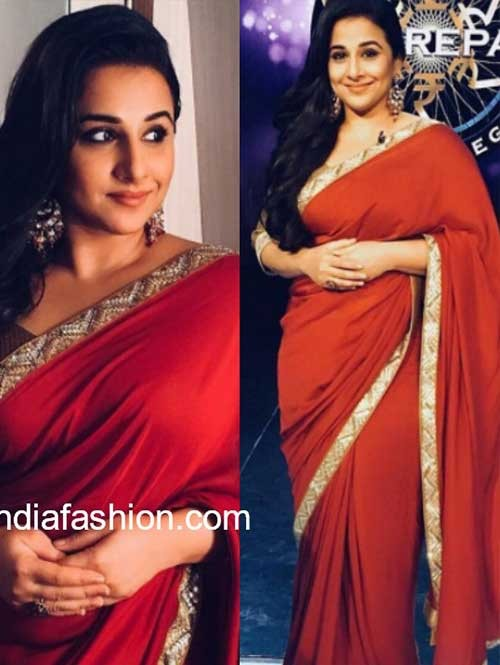 Vidhya Balan in Red Colored Beautiful Embroidered Georgette Saree