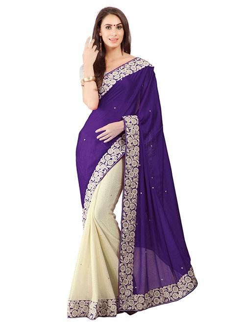 Violet Color Beautiful Embroidered Border Pure Crepe Silk Saree