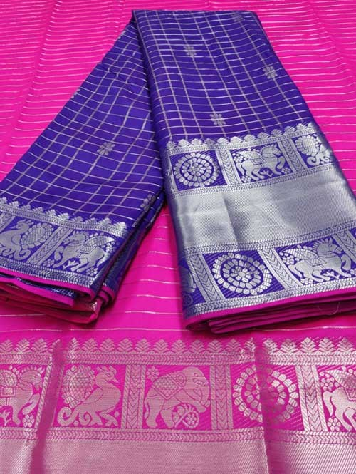 Violet Color Beautiful Silk Saree With Zari Weaving Border - Nakshatra