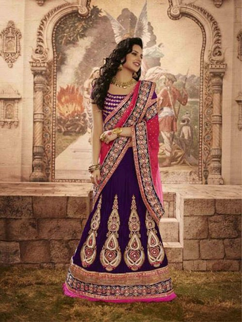 Violet Colored Beautiful Embroidered Micro Velvet Lehenga