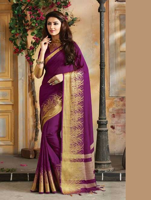Violet Colored Beautiful Embroidered Cotton Saree With Matching Blouse