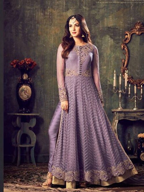 Violet Colored Beautiful Embroidered Heavy Net Salwar Suit