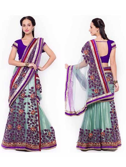 Violet Colored Beautiful Embroidered Net Lehenga Saree