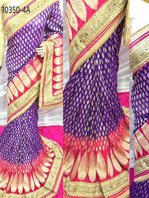 Violet Colored Beautiful Embroidered Pure Viscose Silk Saree