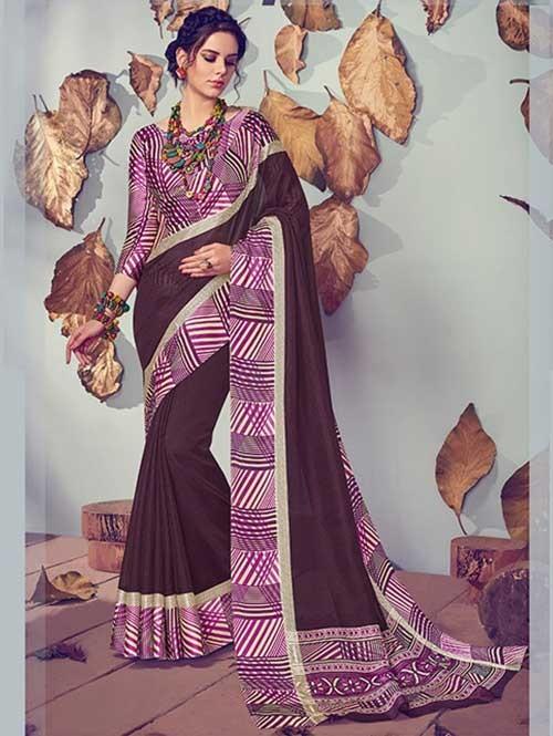 Violet Colored Beautiful Printed Kota Silk Saree