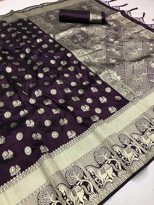 Violet Colored Beautiful Soft Silk Traditional Saree With Kachi Border