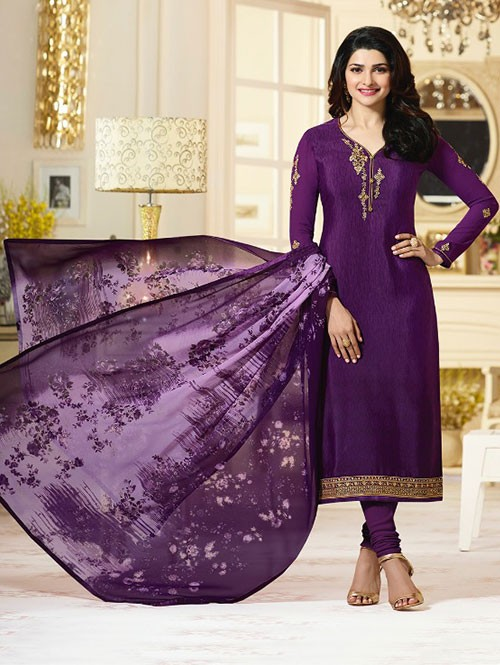Violet Colored Heavy Embroidered Royal Crepe Salwar Suit