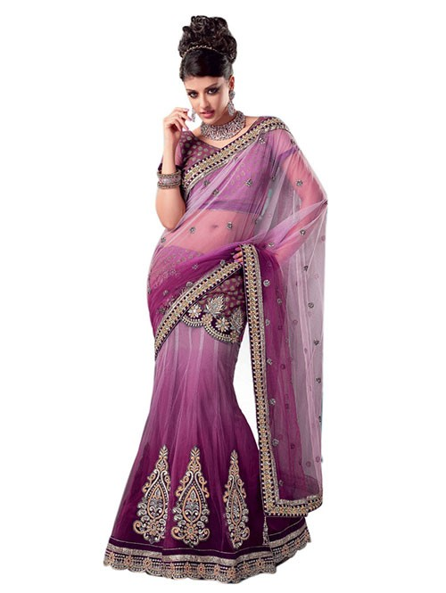 Violet Colored Heavy Stone Work and Embroidered Fancy Net Lehenga With satin Inner