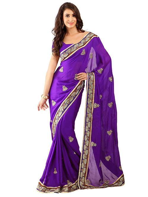 Violet Colored Pure Chiffon Saree has Beautiful Embroidered Border