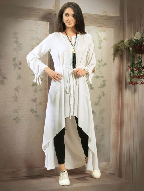 White Color Designer Tunic Shirt with Knot Belt