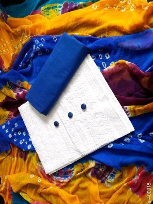 White Colored Beautiful Chikan Work Cotton Dress Material.