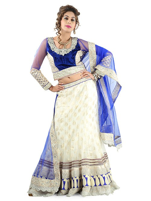 Off White Colored Beautiful Heavy Embroidered Net Lehenga With Beautiful Silk Choli