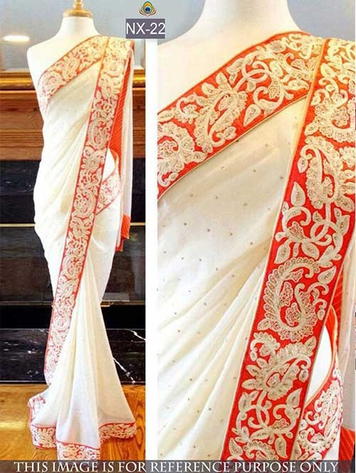 White Colored Beautiful Georgette Saree With Embroidered Blouse