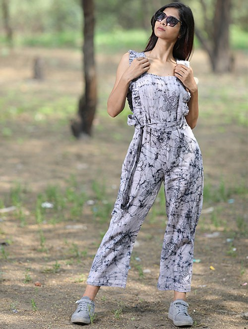 Women's Sleeve Square Neck Ruched Cotton Jumpsuit With Waist Belted