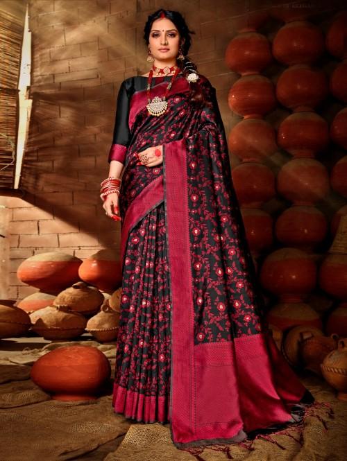 Black saree traditional india