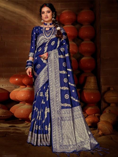 Women's Blue Soft silk saree GrabandPack