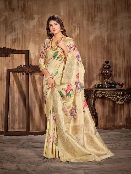 Floral Printed Soft silk saree grabandpack