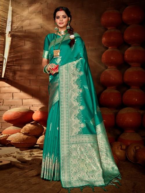 Women's Green Soft silk saree grabandpack