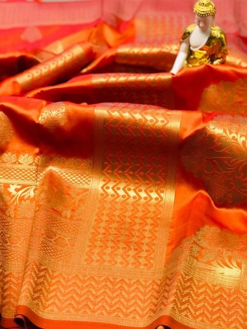 Peach coloured Jacquard Gold zari work saree