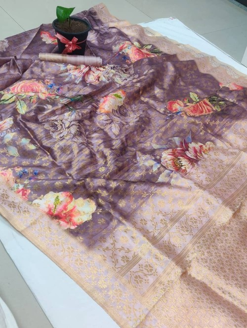 floral printed saree with woven border