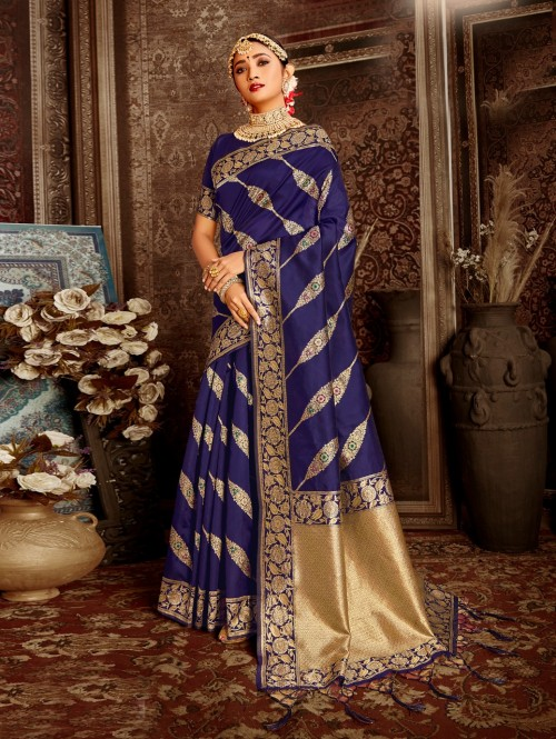Blue coloured Soft silk saree online india by grabandpack