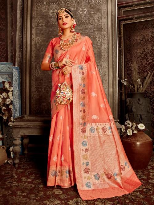peach color saree contrast blouse grabandpack