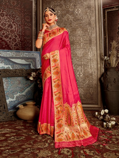 pink color saree with blouse grabandpack