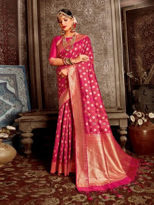 Trending Pink soft silk designer saree
