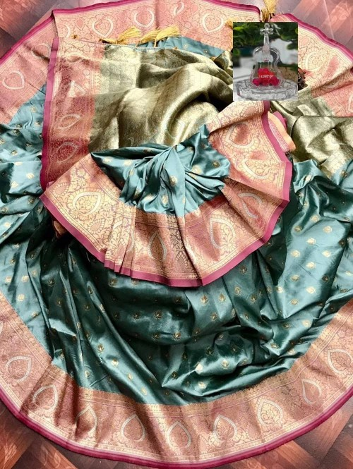 Women's woven silk saree in Grey grabandpack