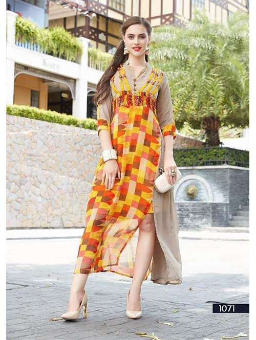 Yellow and Beige Colored Embroidered Georgette Designer Original Kurti